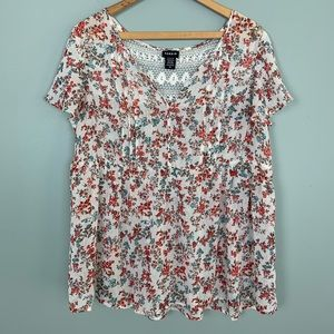 Torrid Floral Greenhouse Chiffon Lace Inset Top